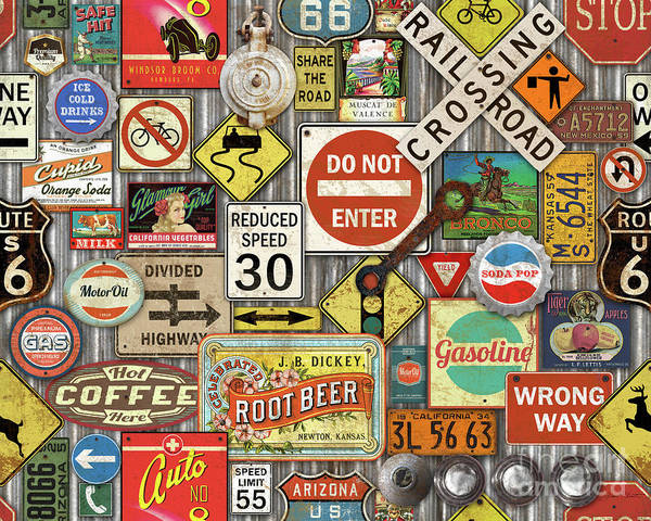 Wall Art - Painting - Roads Signs On Steel-jp3959 by Jean Plout
