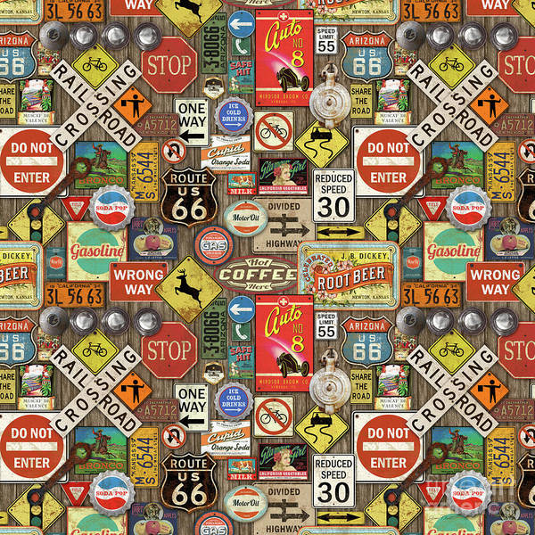 Wall Art - Painting - Roads Signs On Wood-jp3958-b by Jean Plout