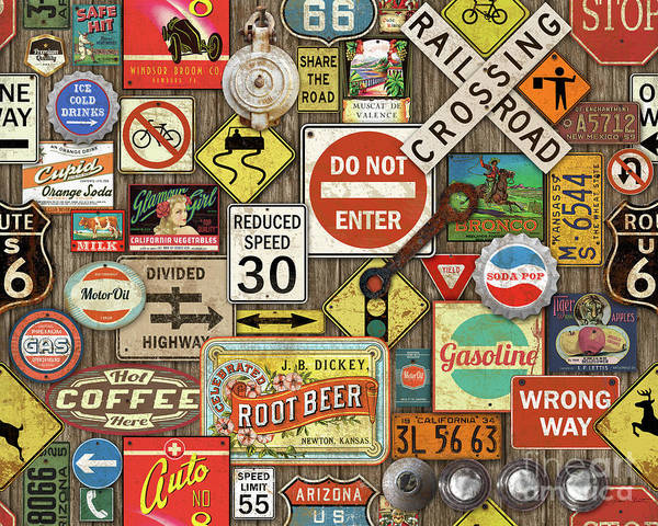 Wall Art - Painting - Roads Signs On Wood-jp3958 by Jean Plout