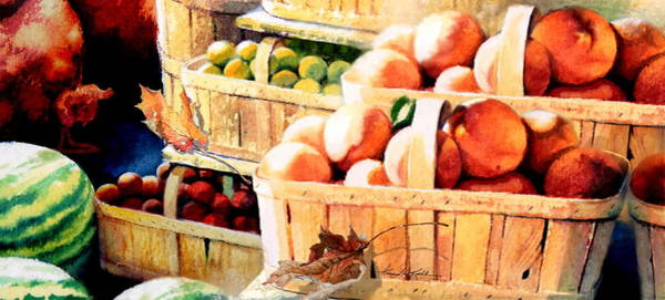 Fruit Stand Wall Art - Painting - Roadside Fruit Stand by Hanne Lore Koehler