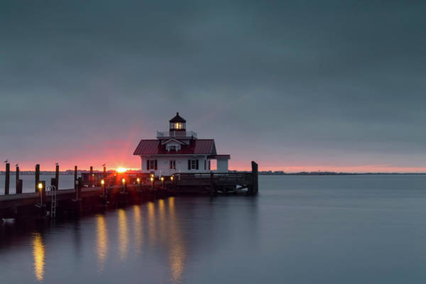 Roanoke Marshes Light Wall Art - Photograph - Roanoke Marshes Lighthouse At Sunrise by Cindy Archbell