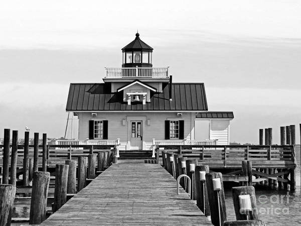 Roanoke Marshes Light Wall Art - Photograph - Roanoke Marshes Lighthouse Black And White by Dawn Gari