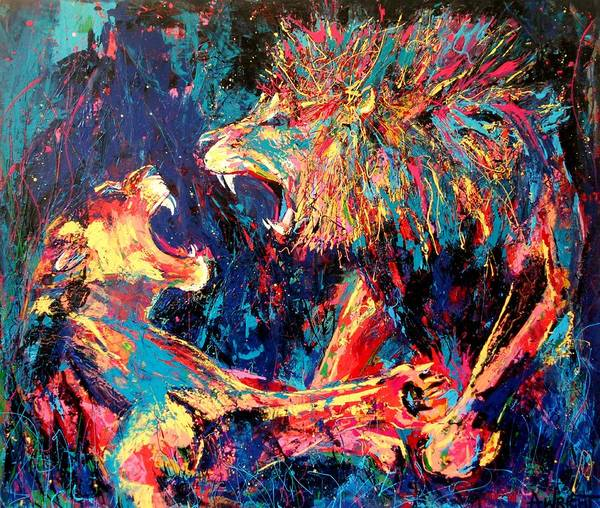 Big Fight Painting - Roar Large Work by Angie Wright