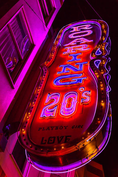 Vintage Neon Sign Photograph - Roaring 20's Neon by Garry Gay