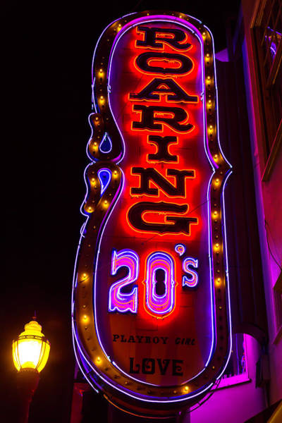 Vintage Neon Sign Photograph - Roaring 20's Neon Sign by Garry Gay