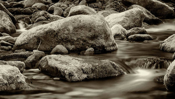 Wall Art - Photograph - Roaring Fork Mossy Rocks - Strong Sepia by Stephen Stookey