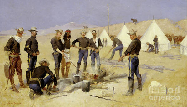Wall Art - Painting - Roasting The Christmas Beef In A Cavalry Camp, 1892 by Frederic Remington