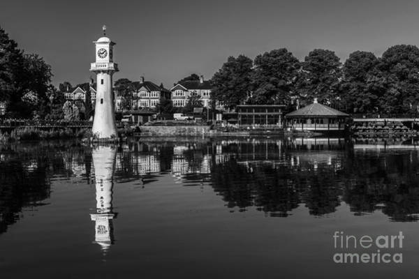Swan Boats Photograph - Roath Park Lake Black And White by Steve Purnell