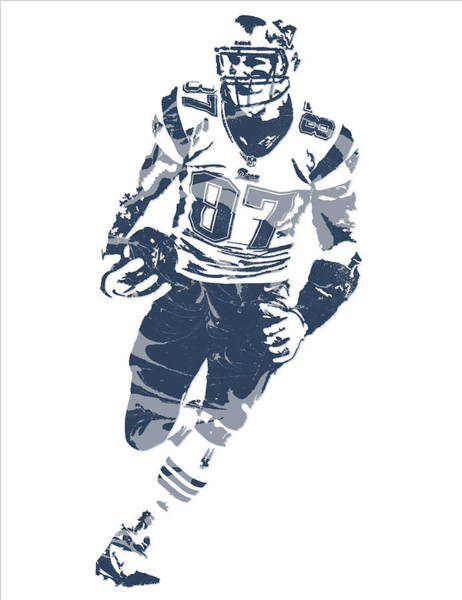 Wall Art - Mixed Media - Rob Gronkowski New England Patriots Pixel Art 11 by Joe Hamilton