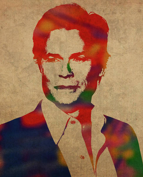 Wall Art - Mixed Media - Rob Lowe Watercolor Portrait by Design Turnpike