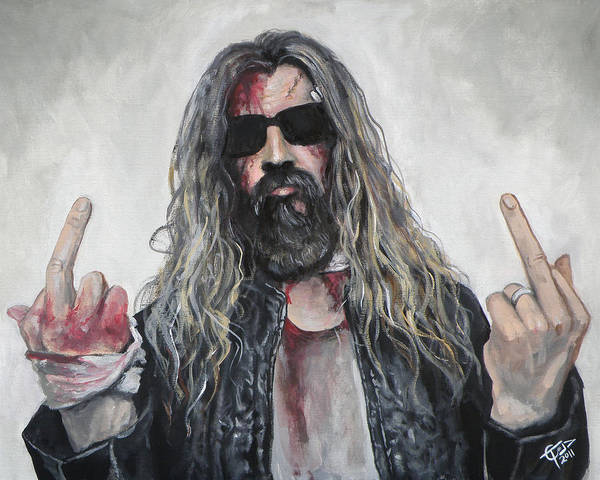 White Zombie Painting - Rob Zombie by Tom Carlton