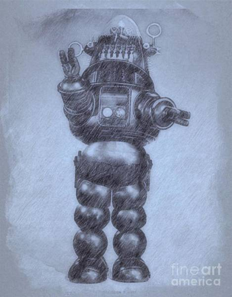 Wall Art - Drawing - Robbie The Robot From Forbidden Planet By John Springfield by John Springfield