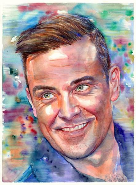 Wall Art - Painting - Robbie Williams Portrait by Suzann Sines