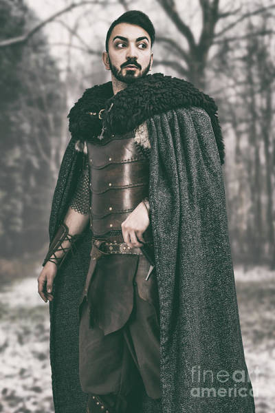 Cosplay Photograph - Robed Viking In The Woods by Amanda Elwell