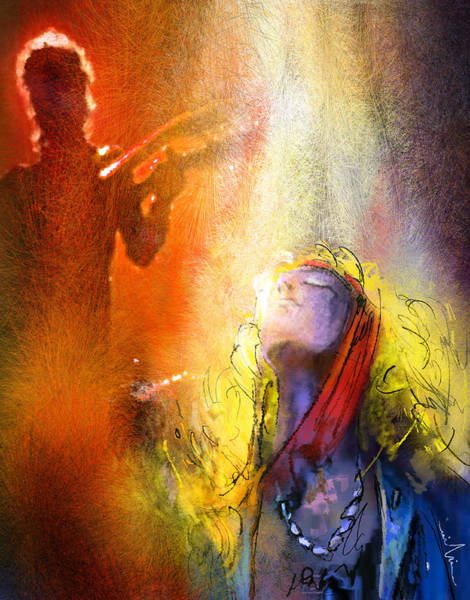 Rock Music Jimmy Page Wall Art - Painting - Robert Plant And Jimmy Page 02 by Miki De Goodaboom