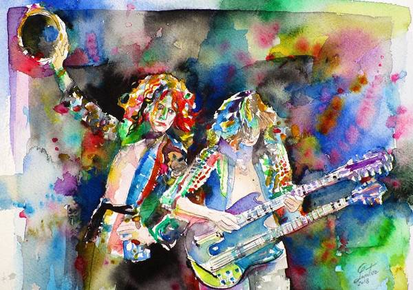Jimmy Page Painting - Robert Plant And Jimmy Page Watercolor Portrait.2 by Fabrizio Cassetta