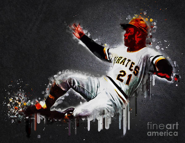Baseball Hall Of Fame Mixed Media - Roberto Clemente by Edelberto Cabrera
