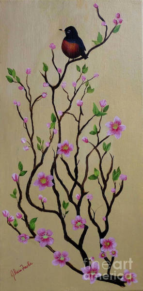 Painting - Robin And Spring Blossoms by Alicia Fowler