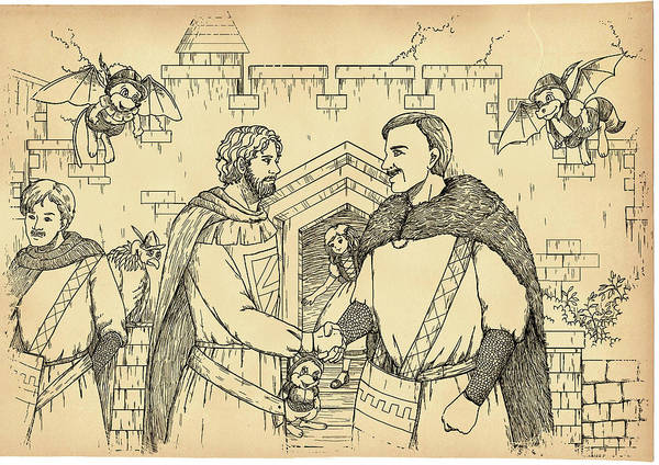 Drawing - Robin Hood And The Captain Of The Guard by Reynold Jay