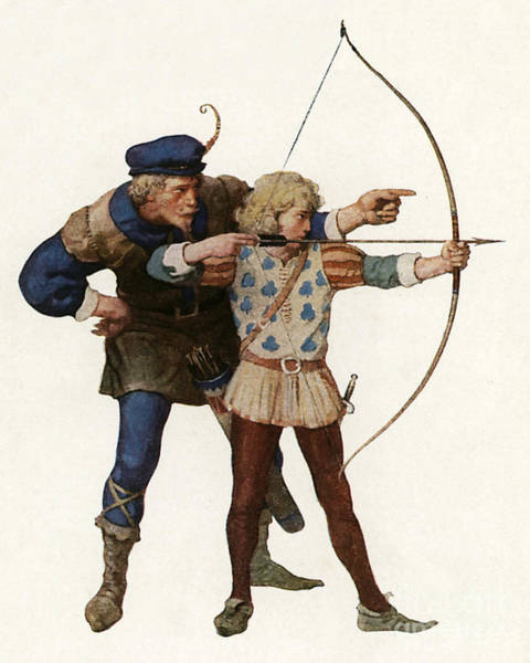 Shooters Wall Art - Painting - Robin Hood Trains A Young Archer by Newell Convers Wyeth