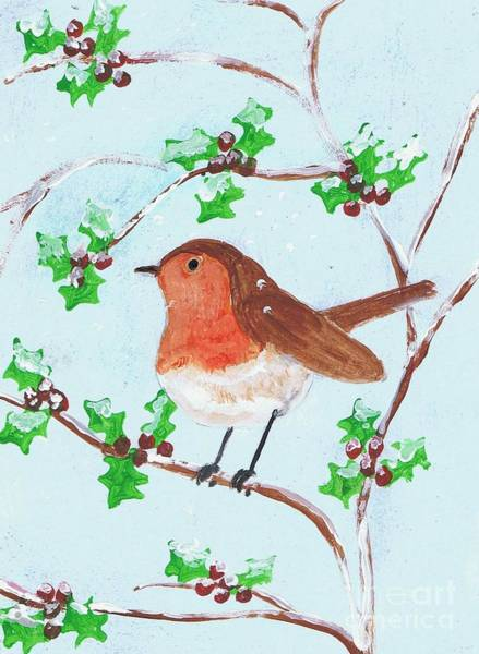 Painting - Robin In A Holly Bush by Karen Jane Jones