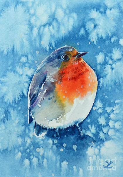 It Professional Painting - Robin In The Snow by Zaira Dzhaubaeva