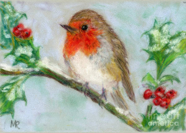 Flycatcher Painting - Robin On Holly by Michelle Reeve