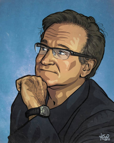 Joke Wall Art - Drawing - Robin Williams by Miggs The Artist