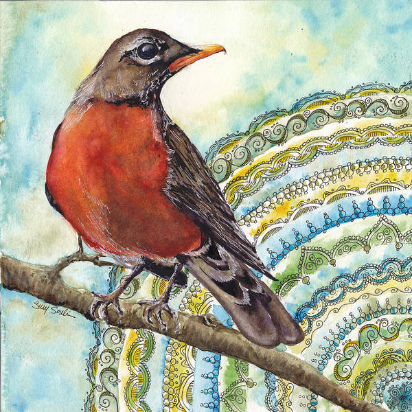 Wall Art - Painting - Robin Zen Birds Series Number 2 by Susy Soulies