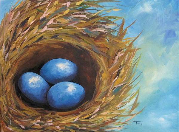 Wall Art - Painting - Robin's Blue Eggs by Torrie Smiley