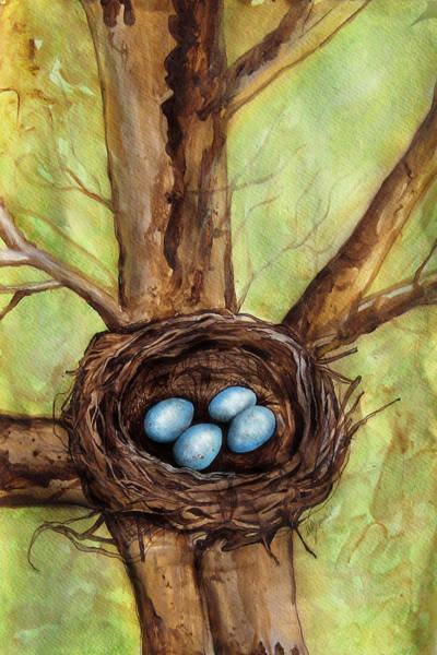 Wall Art - Painting - Robin's Nest by Carrie Jackson