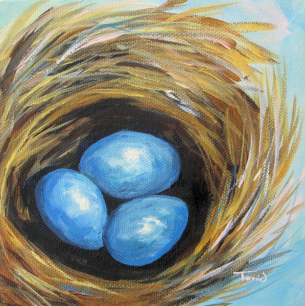 Bird Wall Art - Painting - Robin's Three Eggs IIi by Torrie Smiley