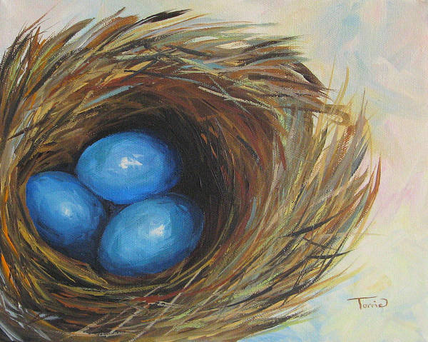 Wall Art - Painting - Robin's Three Eggs by Torrie Smiley