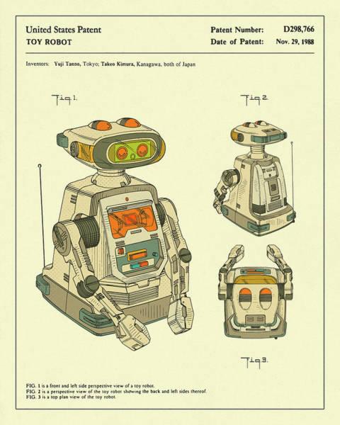 Robot Wall Art - Digital Art - Robot 1988 by Jazzberry Blue
