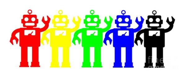 Digital Art - Robot Lives Matter Rainbow Tee by Edward Fielding