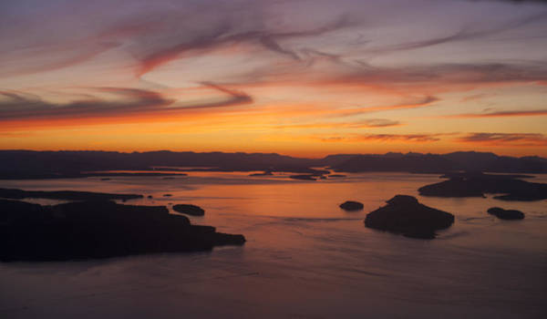 Victoria Harbor Wall Art - Photograph - Roche San Juan Islands Aerial Sunset by Mike Reid