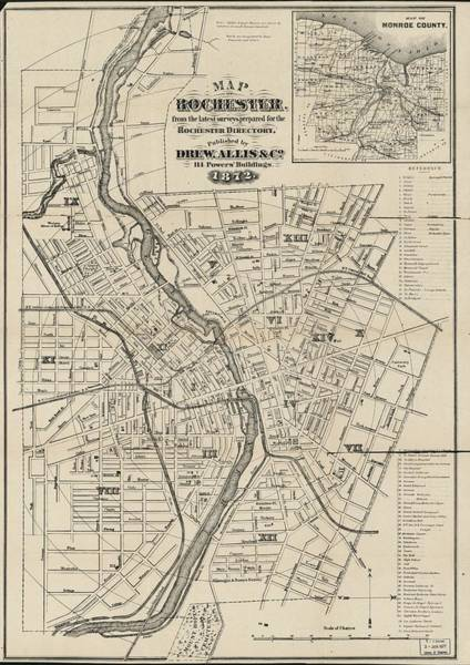 New York City Map Drawing - Rochester N Y 1872 by Mountain Dreams