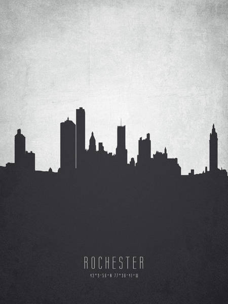 Wall Art - Painting - Rochester New York Cityscape 19 by Aged Pixel