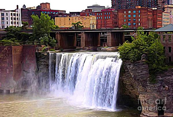 Mixed Media - Rochester New York High Falls Expressionist Effect by Rose Santuci-Sofranko
