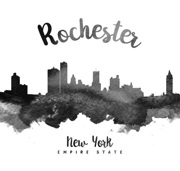 Wall Art - Painting - Rochester New York Skyline 18 by Aged Pixel