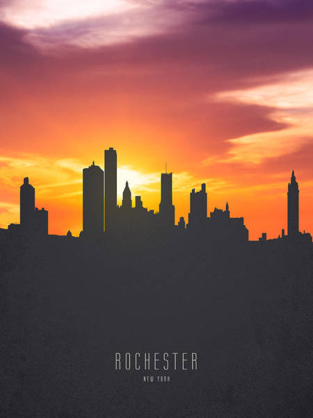 Wall Art - Painting - Rochester New York Sunset Skyline 01 by Aged Pixel