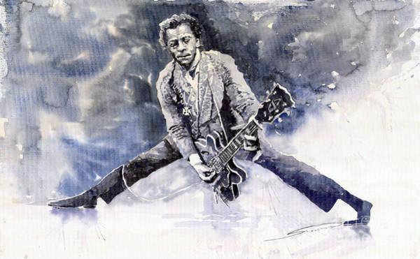 Guitars Painting - Rock And Roll Music Chuk Berry by Yuriy Shevchuk