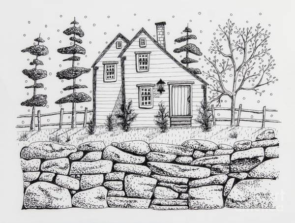 Ink Pen Drawing - Rock Fence by Karla Gerard
