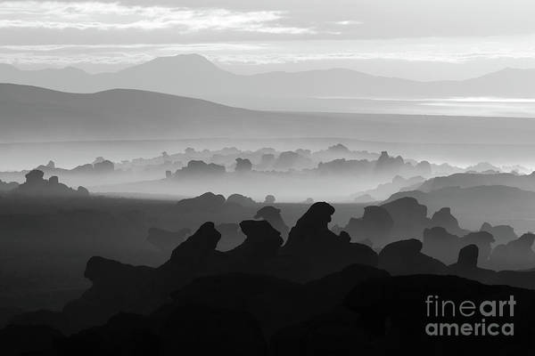 Photograph - Rock Formations In Black And White North Lipez Bolivia by James Brunker
