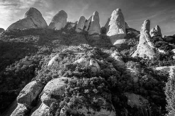 Photograph - Rock Formations Montserrat Spain Bw by Joan Carroll
