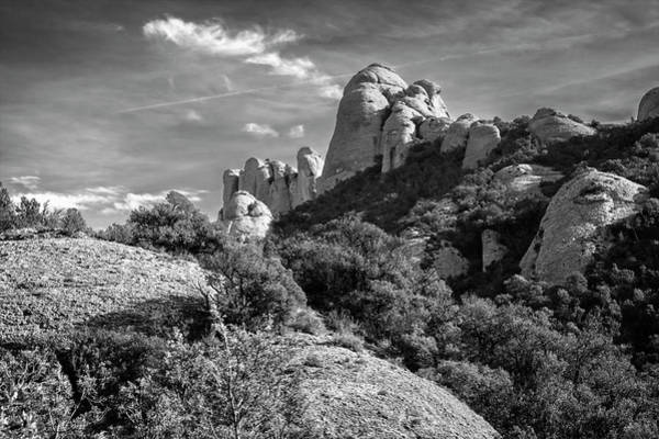 Wall Art - Photograph - Rock Formations Montserrat Spain II Bw by Joan Carroll
