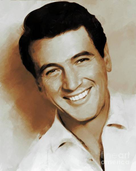 Pinewood Painting - Rock Hudson, Actor by Mary Bassett