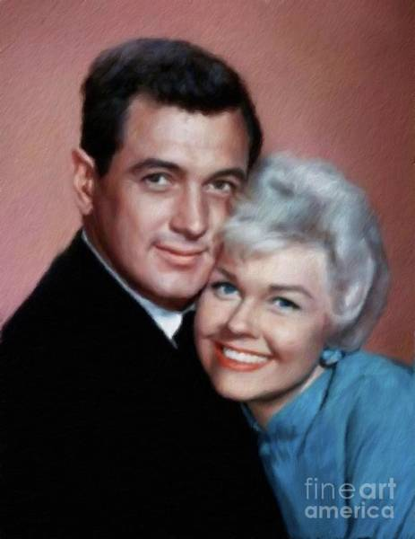 Wall Art - Painting - Rock Hudson And Doris Day by Mary Bassett