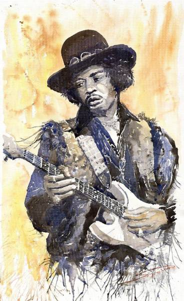 Wall Art - Painting - Rock Jimi Hendrix 02 by Yuriy Shevchuk