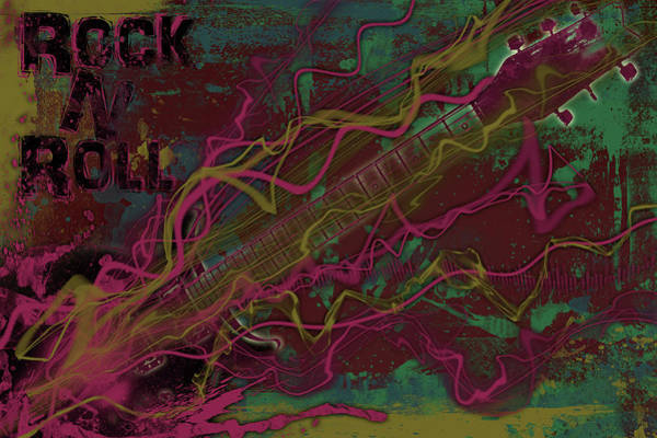 Glam Rock Digital Art - Rock N Roll by Ryan Burton